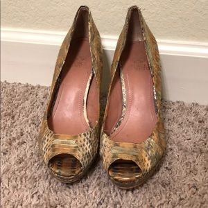 Vince Camuto gold and tan peep toe pumps